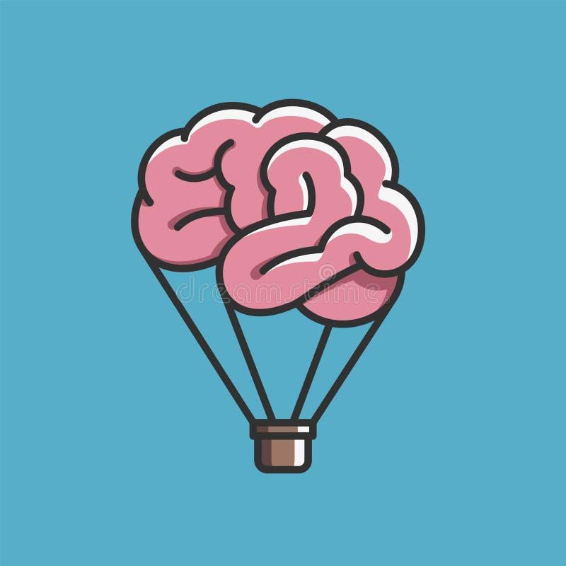 Mózg jak gorące powietrze balon, uwalnia umysł, wyobraźnia, kreatywnie ilustracja wektor