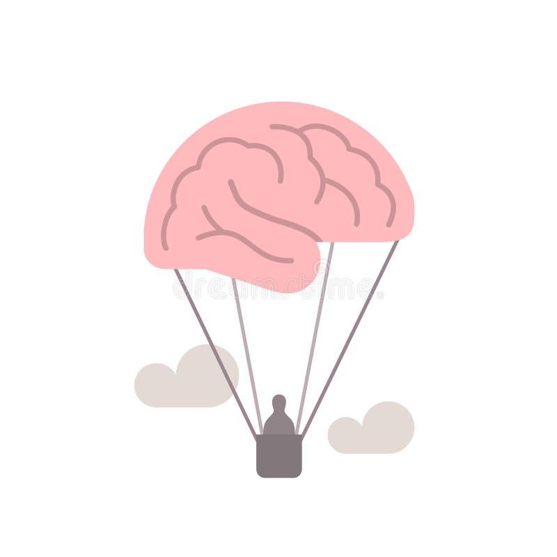 Mózg jako gorące powietrze balon, uwalnia umysł, wyobraźnia, kreatywnie pojęcie ilustracja ilustracja wektor
