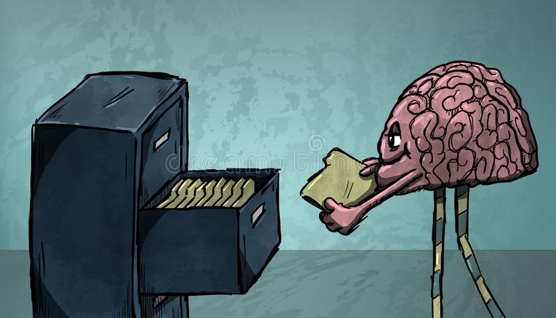Mózg kartoteki ilustracja wektor