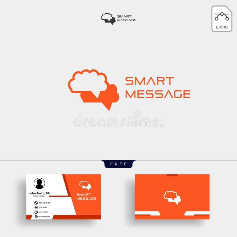 Mózg Konsultuje logo projekty, Móżdżkowa logo ikona z wizytówka szablonem ilustracja wektor
