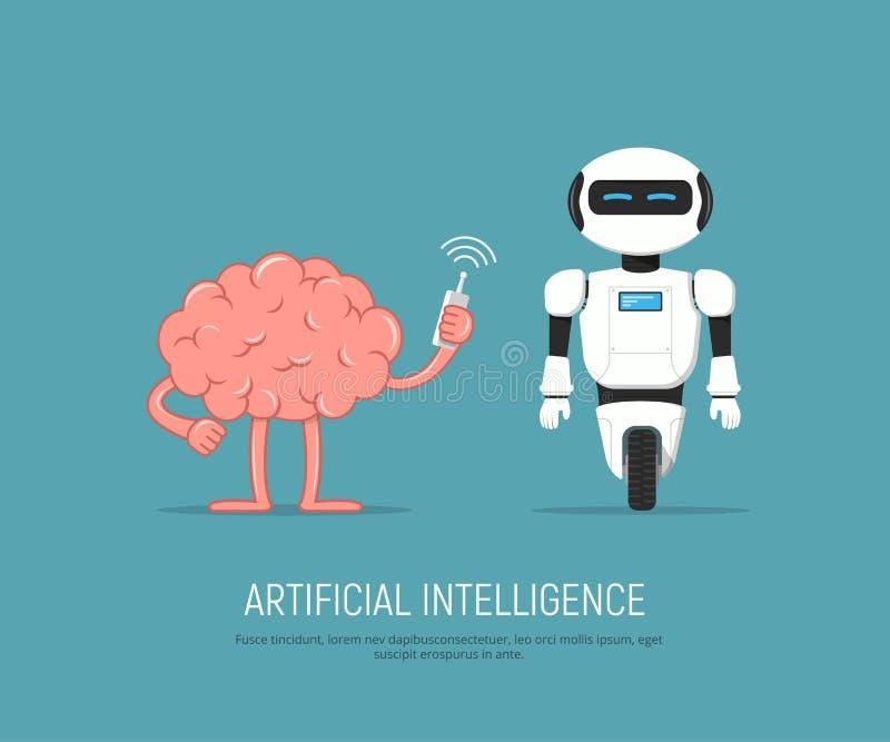 Mózg kontrolny robot w kreskówka stylu Pojęcie trenuje sztuczną inteligencję ilustracja wektor