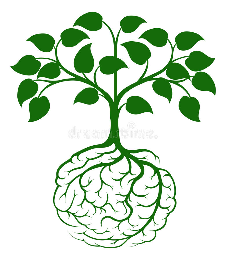 Mózg korzeniowy drzewo royalty ilustracja