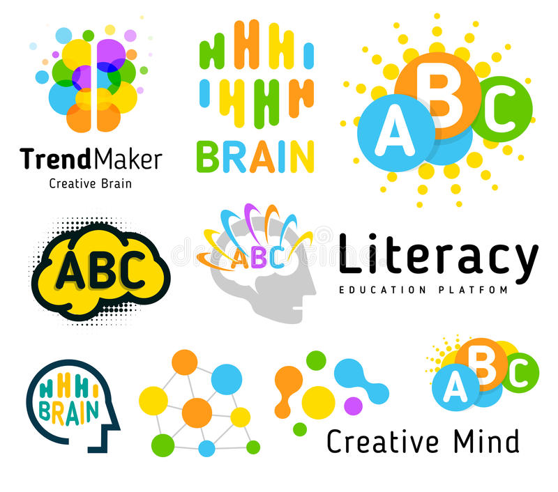 mózg kreatywnie Geniusz szkoła Ludzki rozwój Umiejętność up Liniowy wektorowy loga set royalty ilustracja