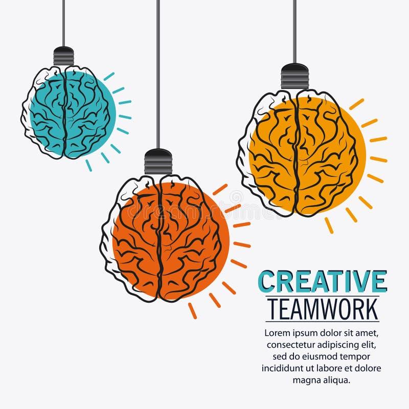 Mózg Kreatywnie pracy zespołowej pojęcie ilustracja wektor