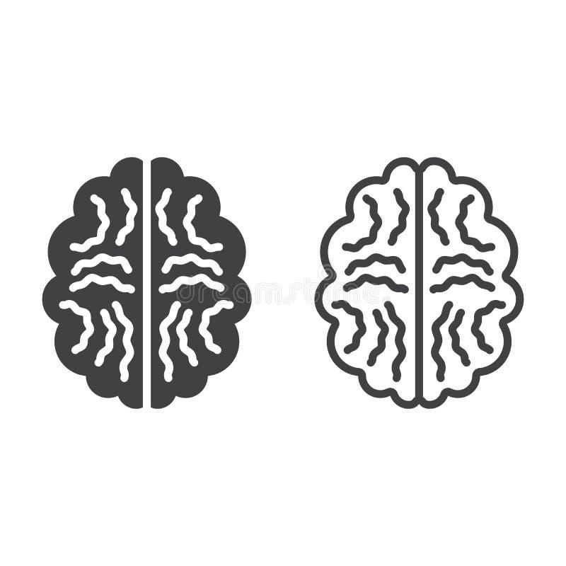 Mózg kreskowa ikona, kontur i bryła wektoru znak, liniowy i pełny royalty ilustracja