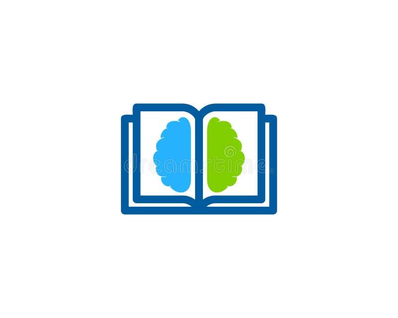 Mózg loga ikony Książkowy projekt royalty ilustracja