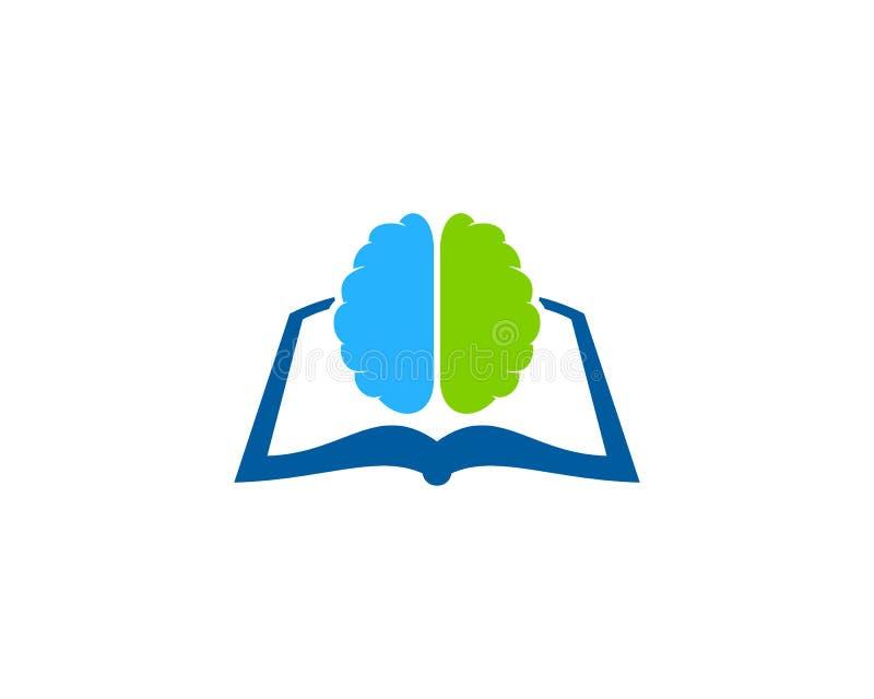 Mózg loga ikony Książkowy projekt ilustracji
