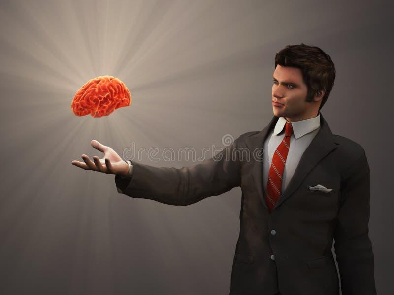 Mózg ludzka ręka ilustracja wektor