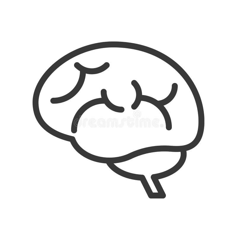 Mózg, ludzki organ odnosić sie konturu wektoru ikonę ilustracja wektor
