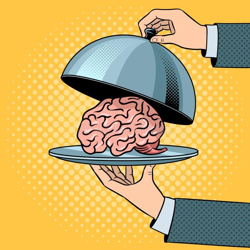 Mózg na naczyniu z cloche wystrzału sztuki wektorem royalty ilustracja