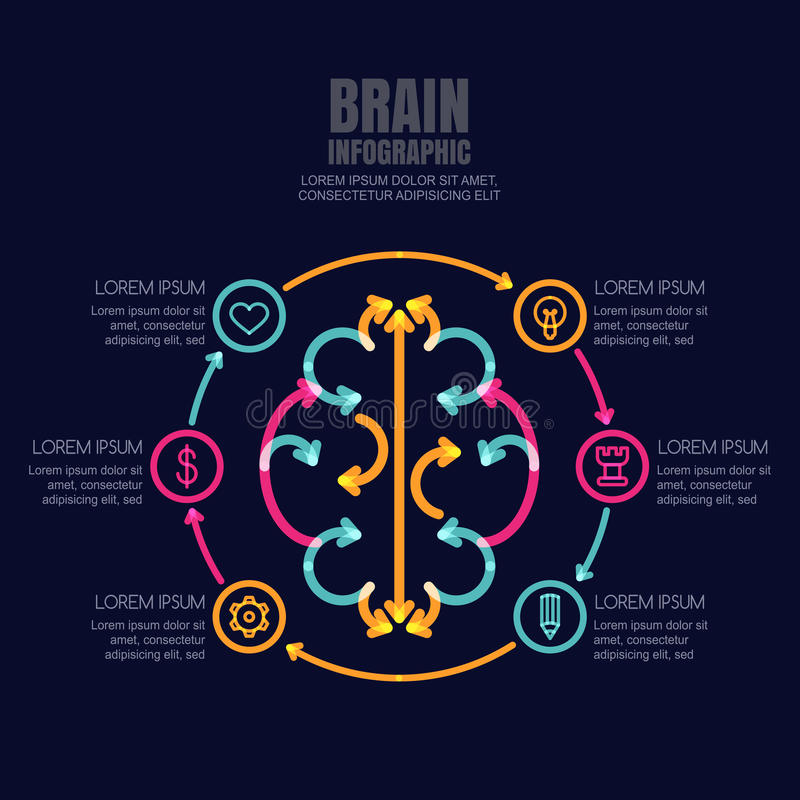 Mózg robić od kolorowych strzała i kontur ikon ustawiać na czerni ilustracja wektor