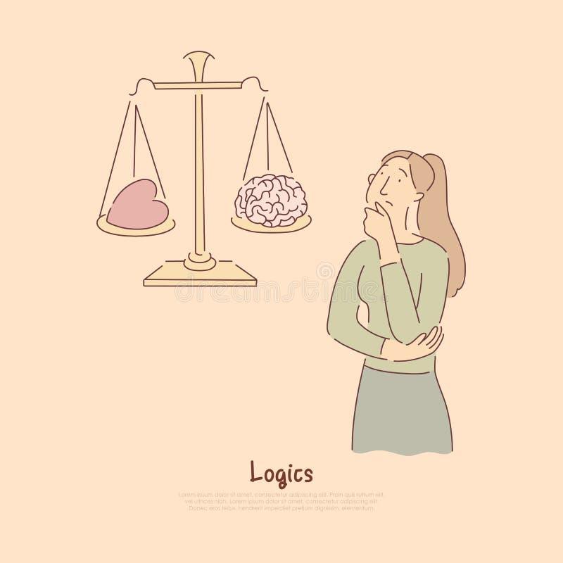 Mózg vs serce na skalach, logiczny główkowanie versus emocjonalny reakcji metafory sztandar ilustracji