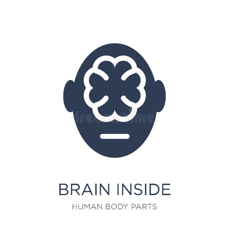 Mózg wśrodku ludzkiej głowy ikony Modny płaski wektorowy mózg wśrodku hu royalty ilustracja