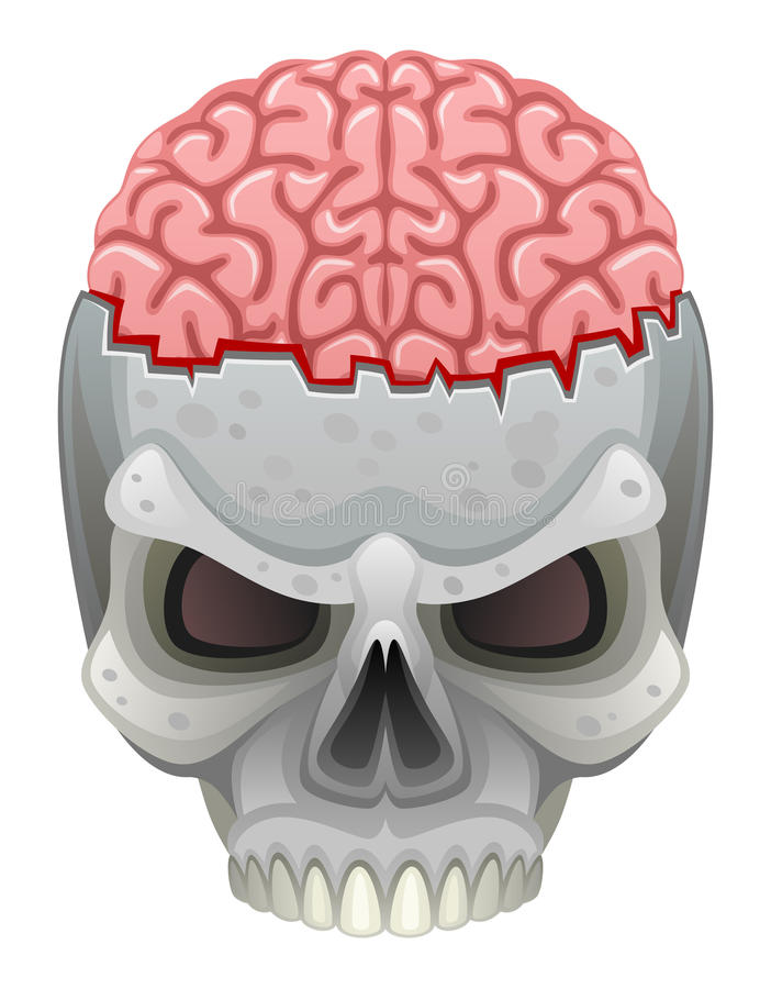 Mózg w czaszce royalty ilustracja