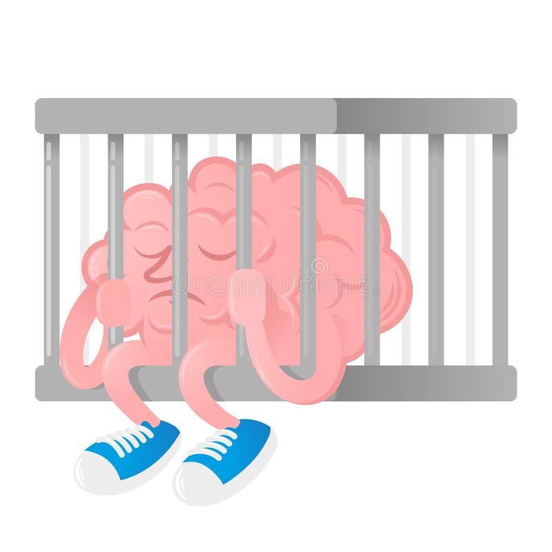 Mózg w więzieniu ilustracji