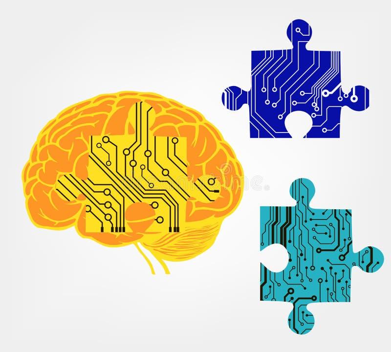 Mózg z łamigłówką w obwodu stylu ilustracji