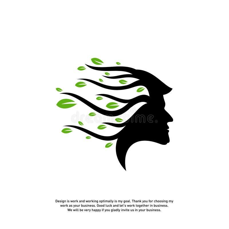 Mózg z Drzewnym logo projekta pojęciem, ludzie głowy z Drzewnym logo wektor - Wektorowa ilustracja - royalty ilustracja