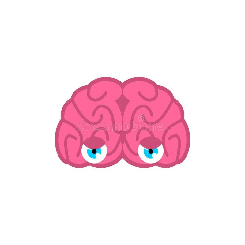 Mózg z oczami odizolowywającymi Mózg spojrzenie również zwrócić corel ilustracji wektora ilustracja wektor