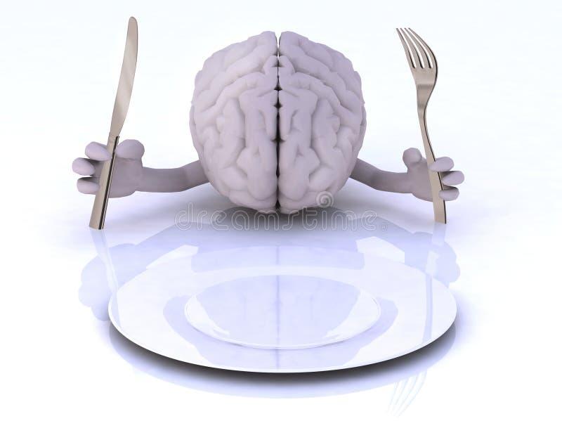 Mózg z rękami i naczyniami ilustracja wektor