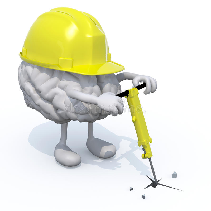 Mózg z rękami, nogami, praca hełmem i jackhamme, royalty ilustracja