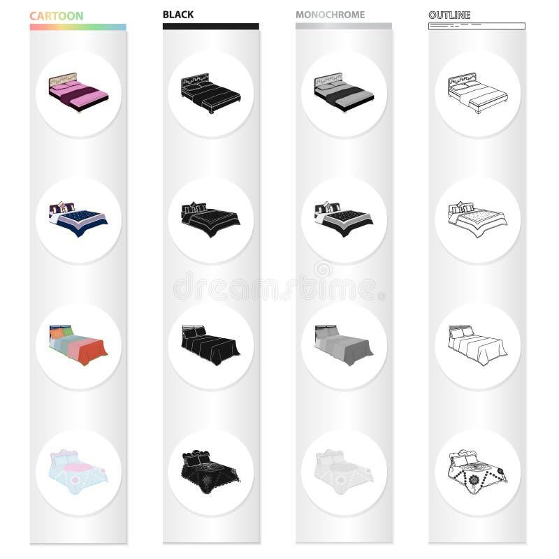 Möbel, Bett, Matratze und andere Netzikone in der Karikaturart Gewebe, Bettzeug, Bleibe, Ikonen in der Satzsammlung lizenzfreie abbildung