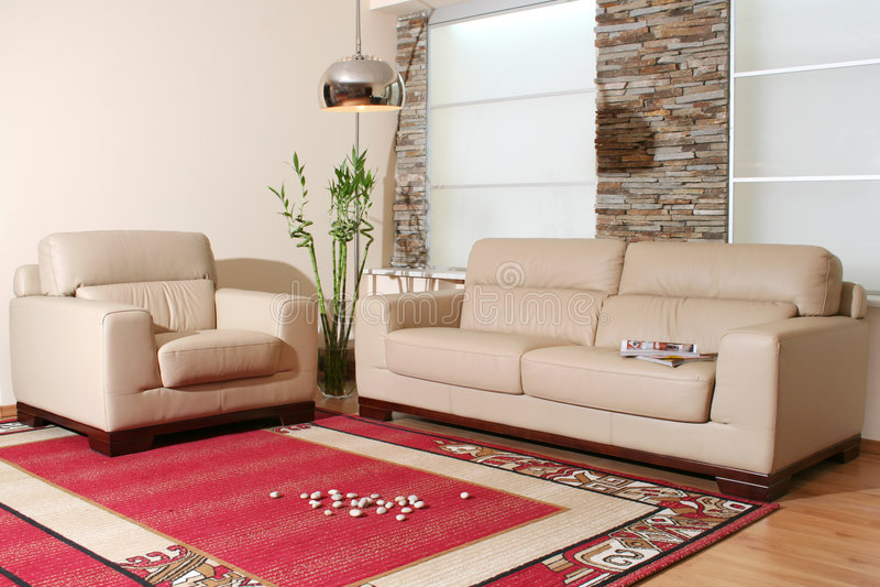 Möbel des weißen Leders lizenzfreies stockbild