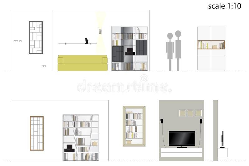 möbel Designwohnzimmer 2d Vektorillustration Skala 1: 10 lizenzfreie abbildung
