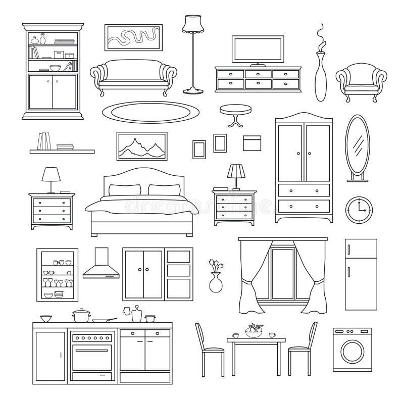 Möbel-Einzelteil-Linie Satz stock abbildung