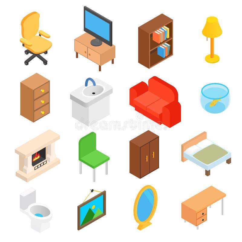 Möbel für das Wohnzimmer isometrisch lizenzfreie abbildung