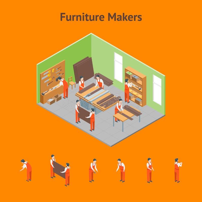 Möbel-Hersteller bei der Arbeit und Innenraum mit Element-Satz-isometrischer Ansicht Vektor stock abbildung