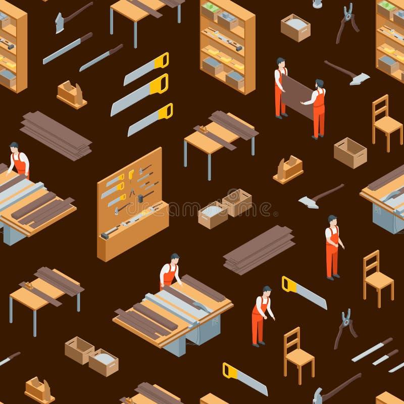Möbel-Hersteller bei der Arbeit und nahtloser Muster-Innenhintergrund-isometrischer Ansicht Vektor lizenzfreie abbildung