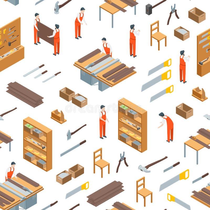 Möbel-Hersteller bei der Arbeit und nahtloser Muster-Innenhintergrund-isometrischer Ansicht Vektor vektor abbildung
