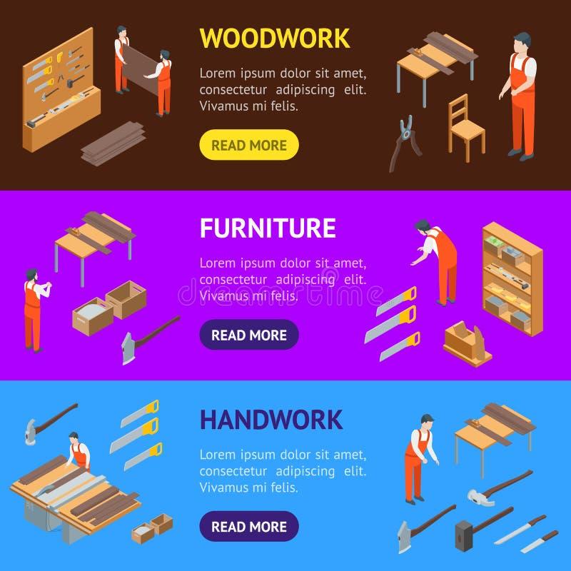 Möbel-Hersteller an der Arbeits-Fahnen-horizontaler Satz-isometrischen Ansicht Vektor vektor abbildung