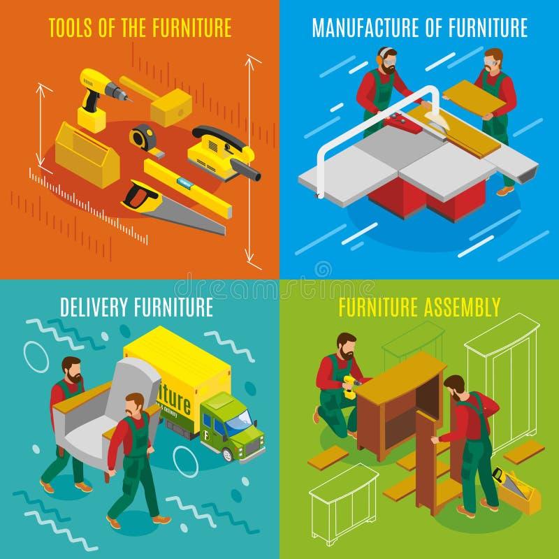 Möbel-Hersteller-isometrisches Konzept des Entwurfes lizenzfreie abbildung