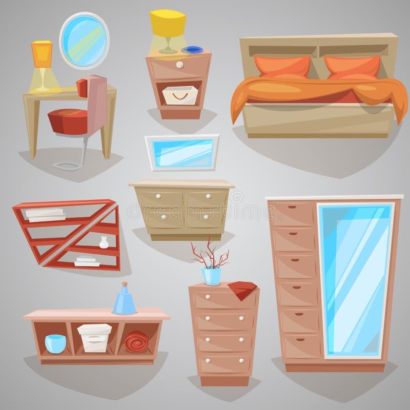 Möbel im Schlafzimmervektor-Einrichtungsgegenständedesign des Betts mit Bettwäsche oder Bettzeug in geliefertem Kopfendeinnenraum lizenzfreie abbildung