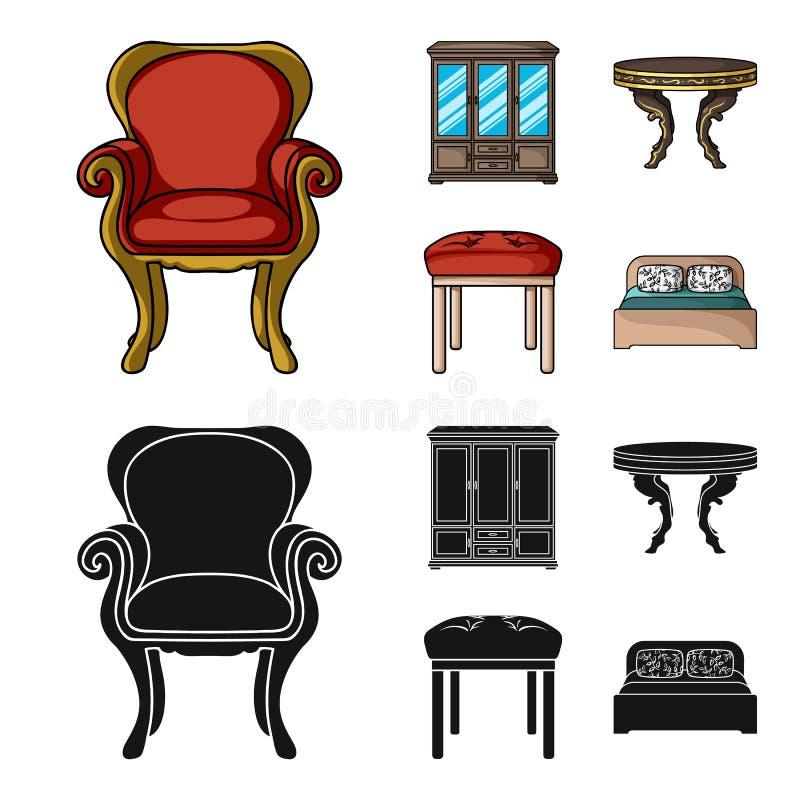 Möbel, Innenraum, Design, Stuhl Möbel und Haupt-interiorset Sammlungsikonen in der Karikatur, schwarzes Artvektorsymbol vektor abbildung