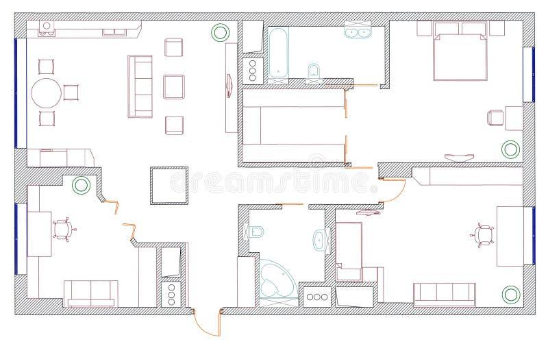 m bel sind auf architektenplan stockfoto bild von reklameanzeige k che 29975258. Black Bedroom Furniture Sets. Home Design Ideas
