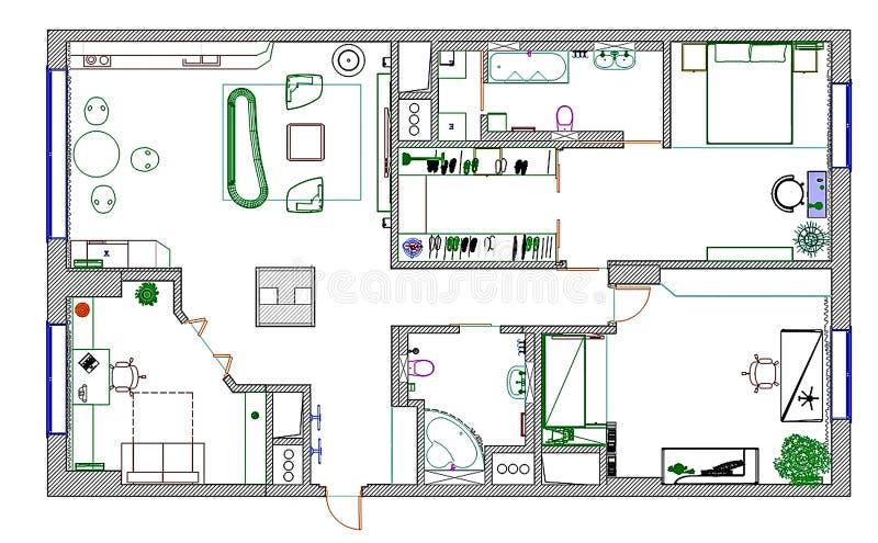 m bel sind auf architektenplan stockbild bild von fremdfirma auslegung 29978093. Black Bedroom Furniture Sets. Home Design Ideas