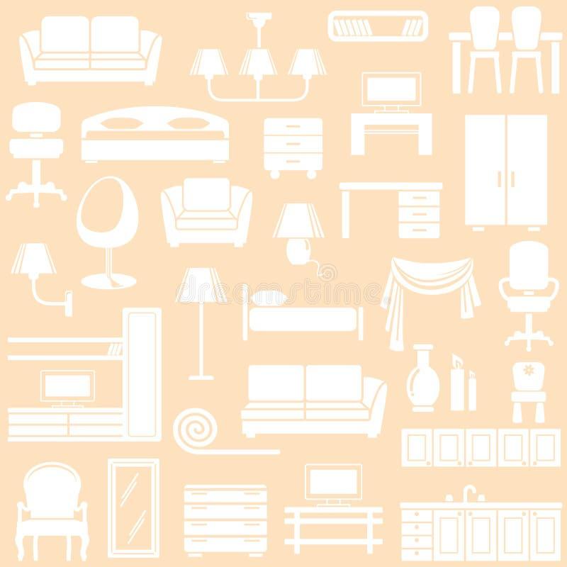 Möbel und die Beleuchtungausrüstung lizenzfreie abbildung