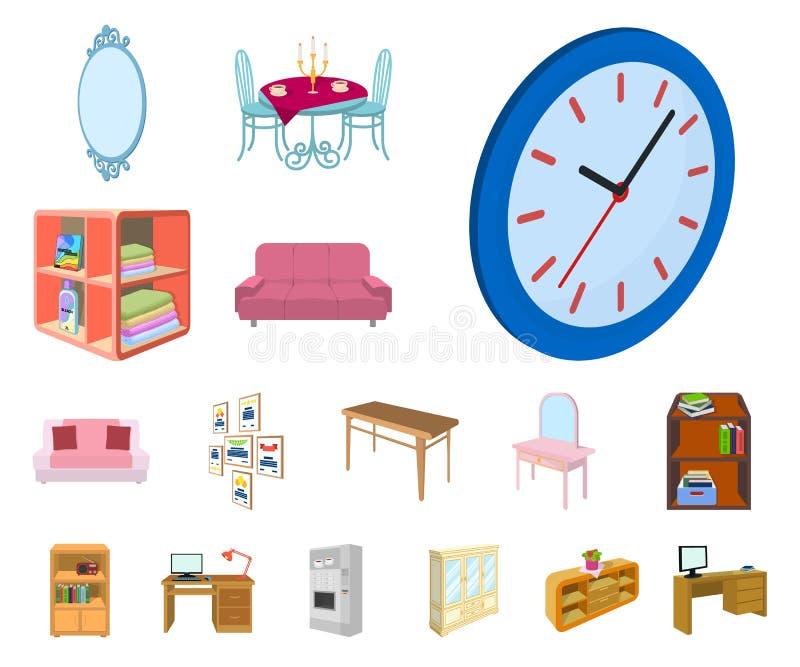 Möbel und Innenkarikaturikonen in der Satzsammlung für Design Hausausstattung vector isometrisches Symbolvorratnetz stock abbildung