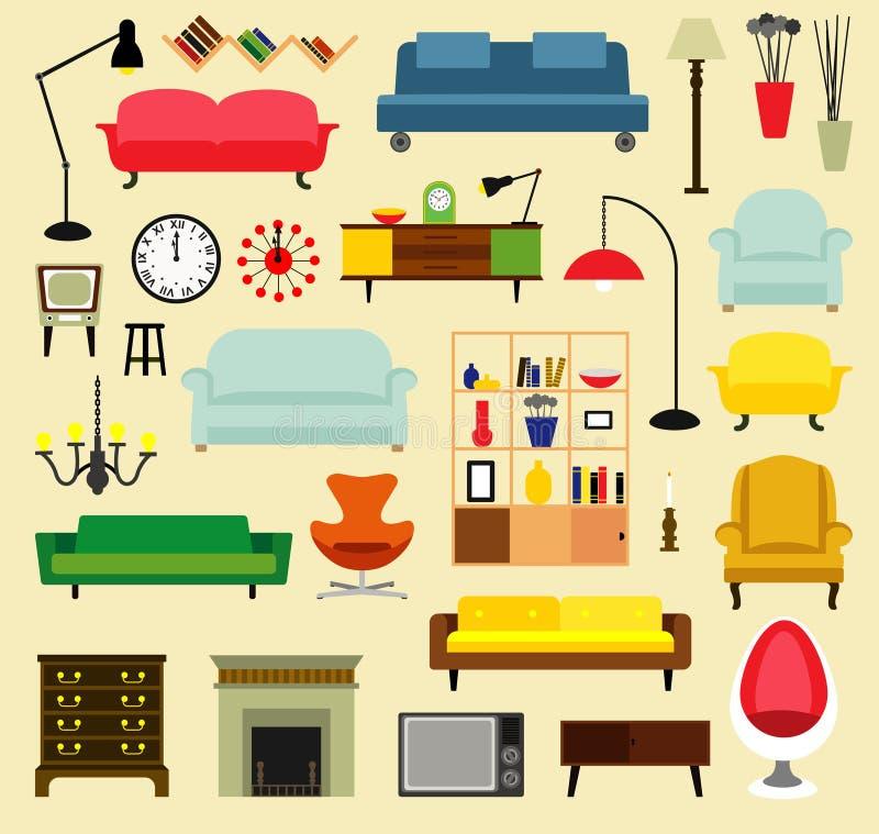 Möbelideen für Wohnzimmer lizenzfreie abbildung