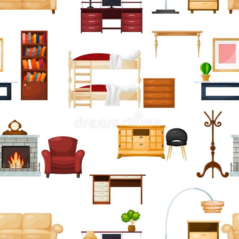 Möbelvektor-Einrichtungsgegenständeentwurf des Wohnzimmerinnenraums im Wohnungssatz der Sofatabelle mit den Fächern, zum des Raum lizenzfreie abbildung