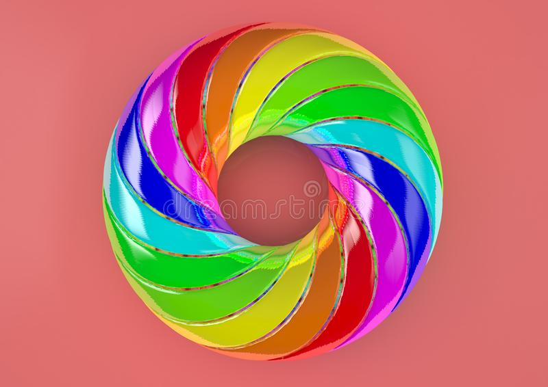 Torus of Doubly Twisted Strips White Background - Abstract Colorful Shape 3D Illustration stock image