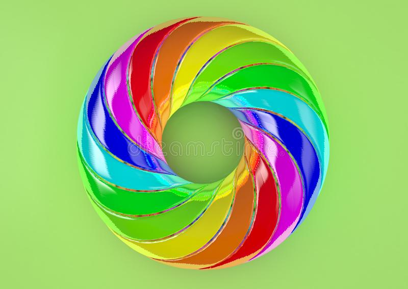 Torus of Doubly Twisted Strips White Background - Abstract Colorful Shape 3D Illustration stock photography