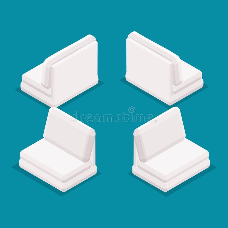 Möblemang för kontor för objekt 3D för trend isometriskt, sikt för främre sikt för soffa som bakre isoleras på en blå bakgrund vektor illustrationer