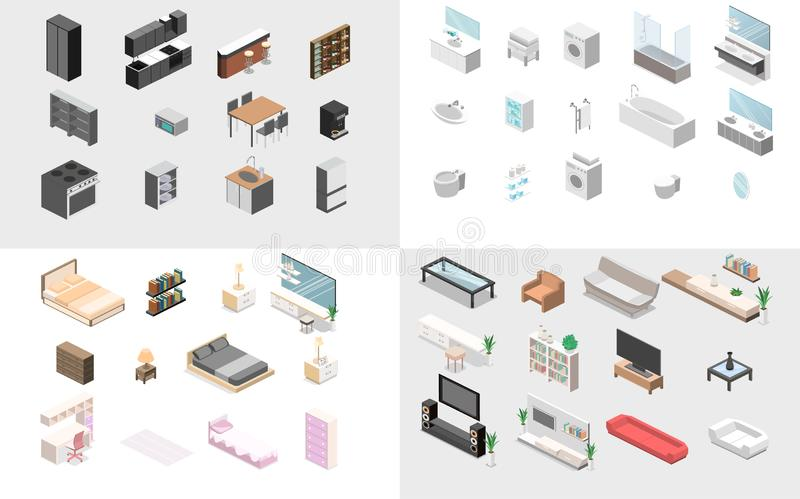 Möblemang för lägenhet Isometrisk plan 3D isolerade begreppsvektorjacketten royaltyfri bild