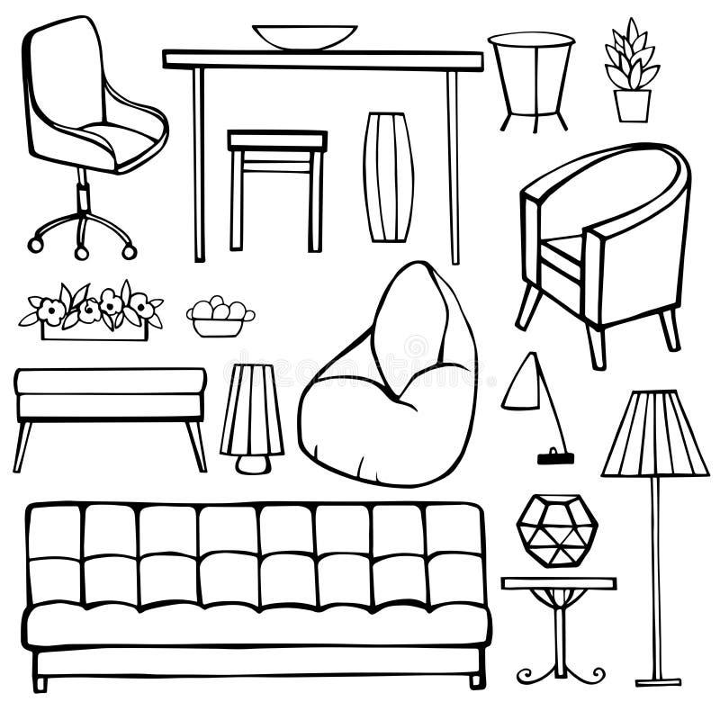 Möblemang, lampor och växter för hemmet royaltyfri illustrationer