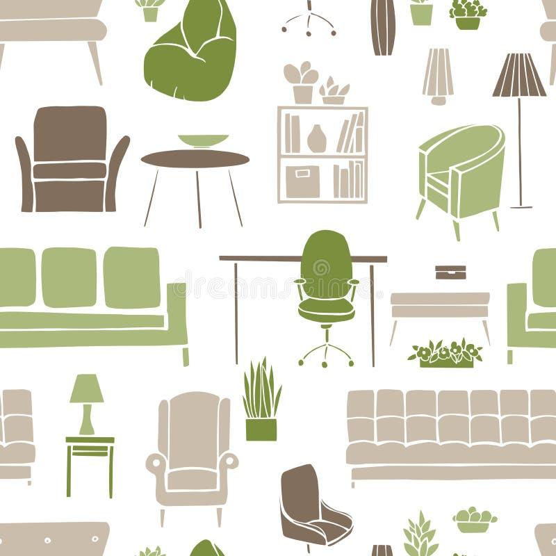 Möblemang, lampor och växter för hemmet Sömlös patte för vektor vektor illustrationer