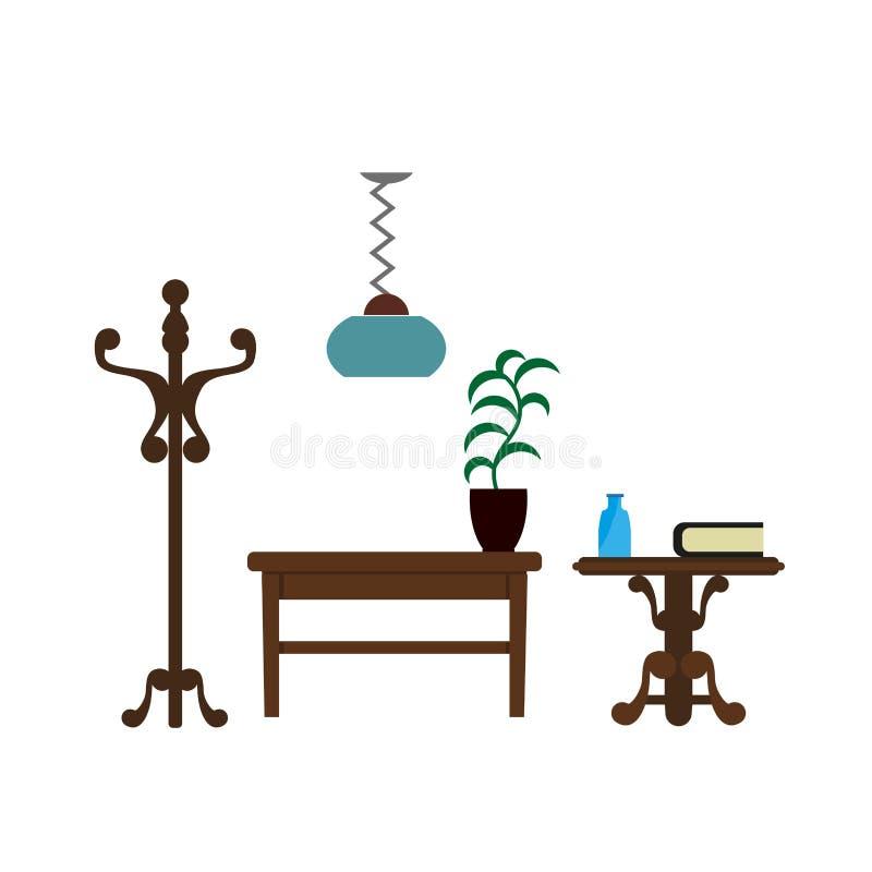 Möblemang lappar symboler för lägenhet för vardagsrumlamp-, hängare- och tabellvektor royaltyfri illustrationer
