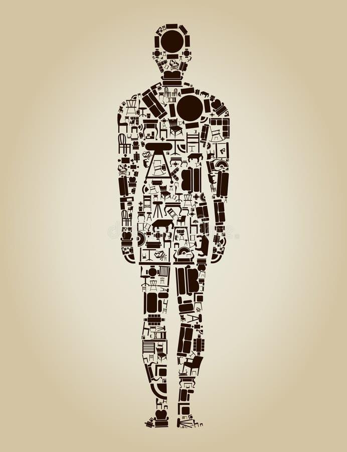 Möblemang personen royaltyfri illustrationer